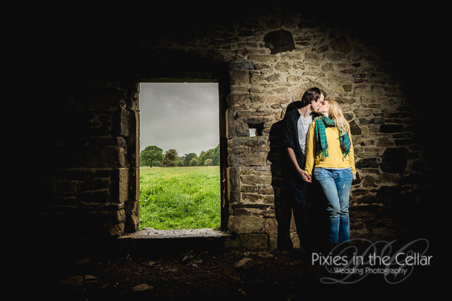 Rustic engagement shoot Derbyshire barn