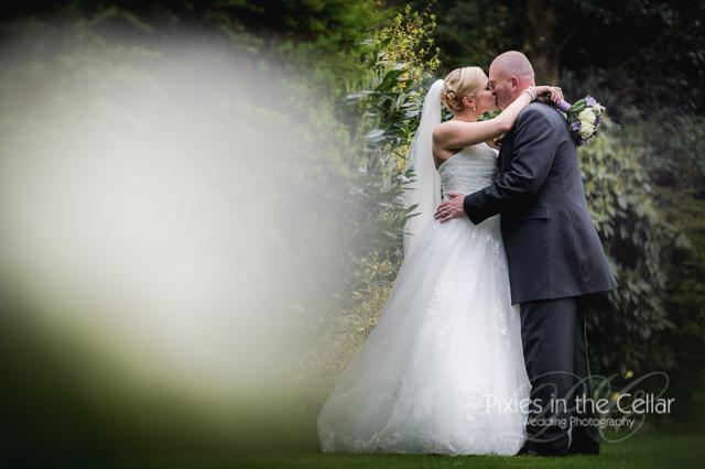 kissing wedding photo