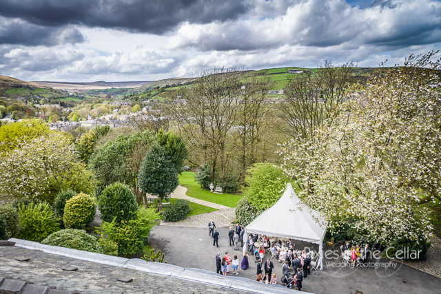 view from crow hill cottages at spring wedding
