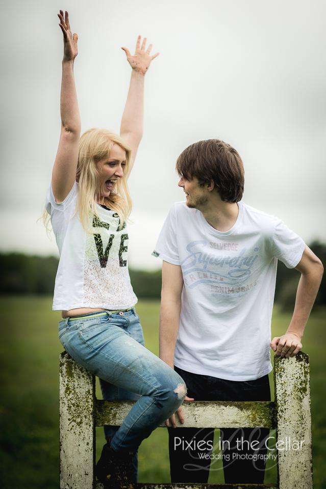 Derbyshire engagement shoot couple on stile