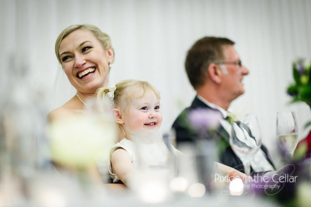 bride and daughter smiling
