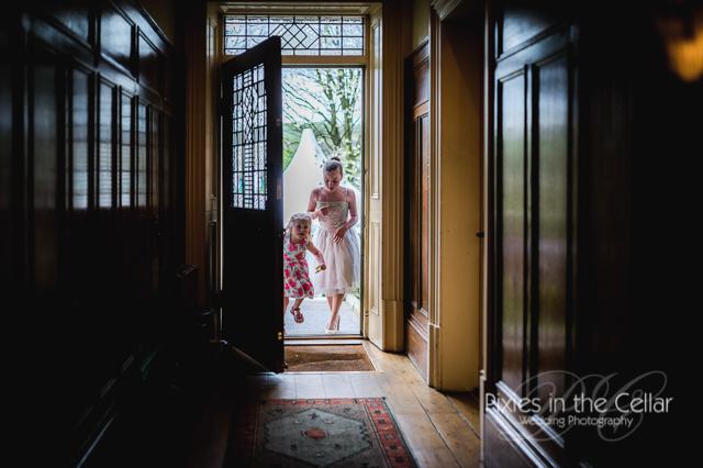 children running through door