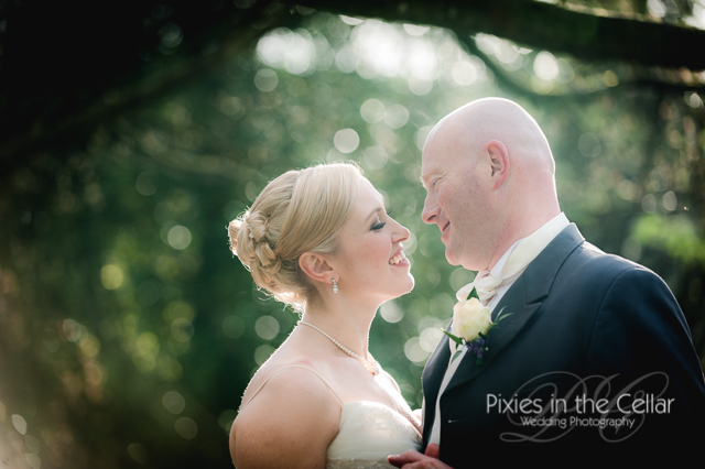 evening light bride groom close up