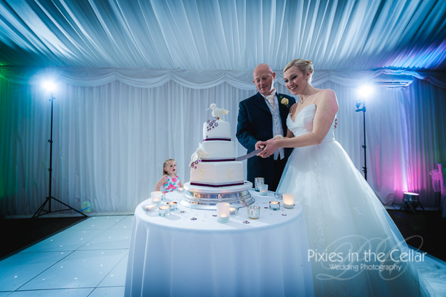 cutting cake marquee wedding