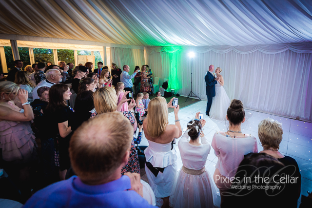 wedding first dance in marquee