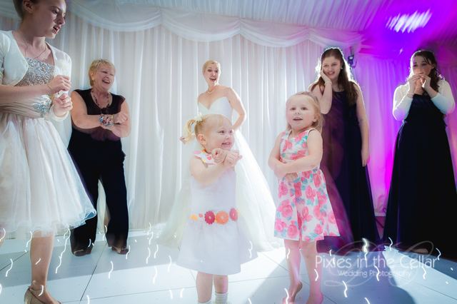 girls dancing at crow hill cottages wedding in marquee