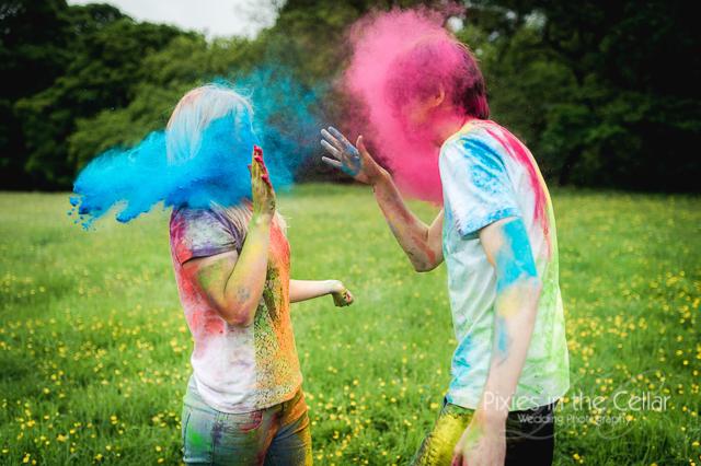 Holi coloured powder photography eshoot