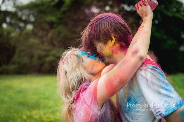 holi powder couple engagement shoot