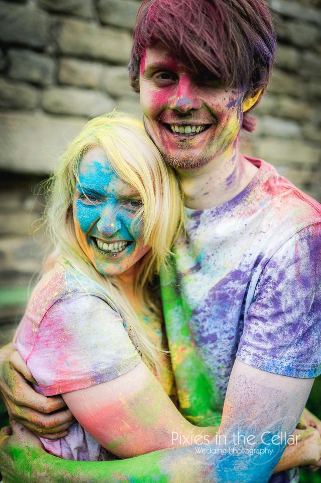 holi powder couple