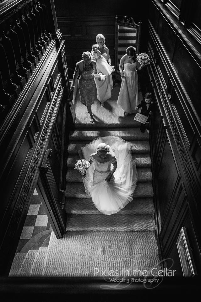 Eaves Hall wedding Bride arrival