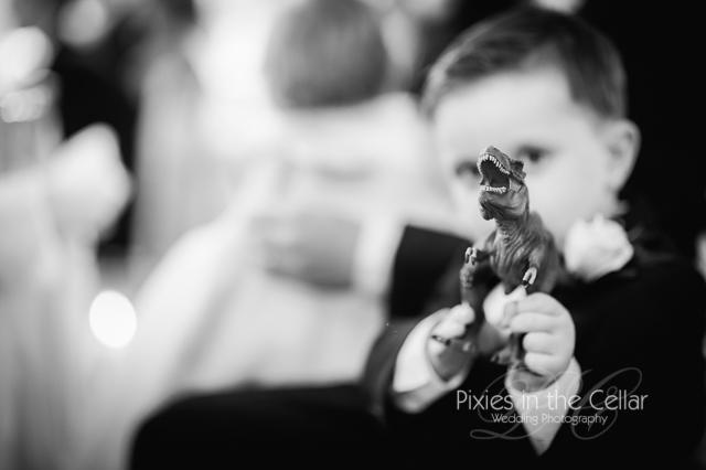Eaves Hall Wedding Page boy and dinosaur