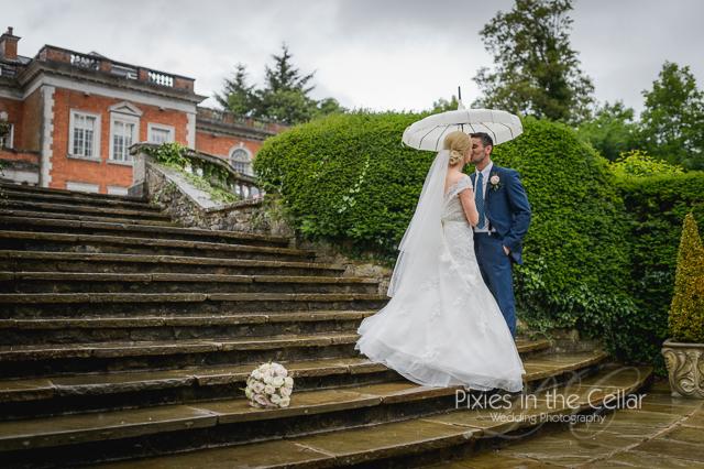 Eaves Hall Wedding Rain