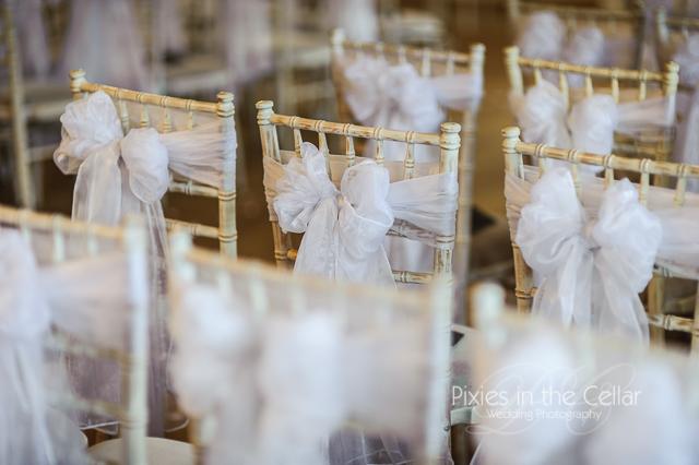 Chivari chairs white bow Wedding photography Lancashire