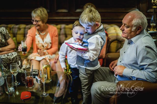 Eaves Hall Wedding kids and iPad