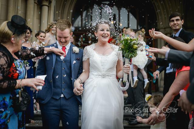 Manchester Wedding bubbles and confetti