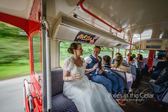 Double decker bus wedding transport