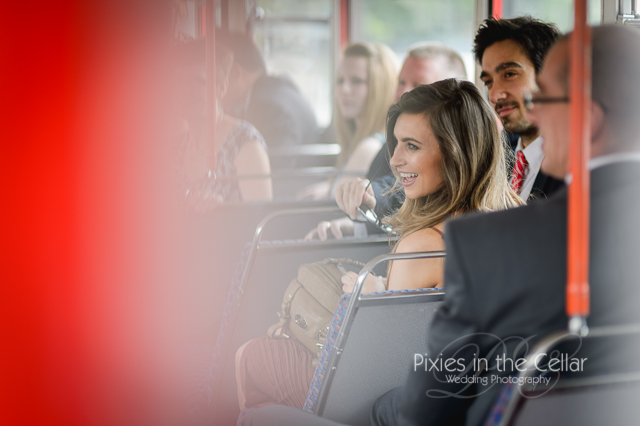 Manchester wedding guests on bus