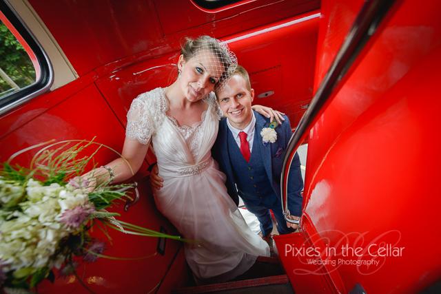 Double decker bus wedding photo