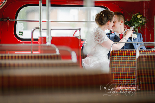 Red bus wedding photography