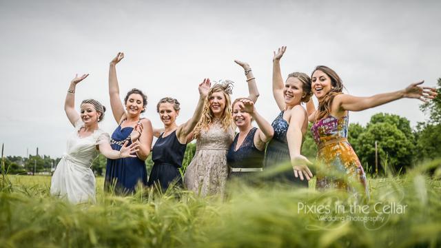 Wedding girls in barley field