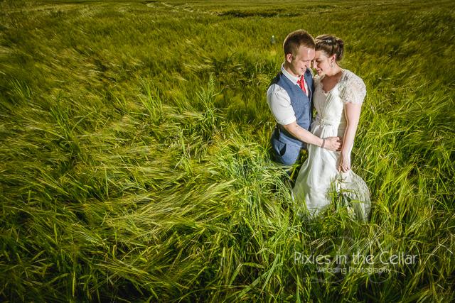 Barley field wedding couple