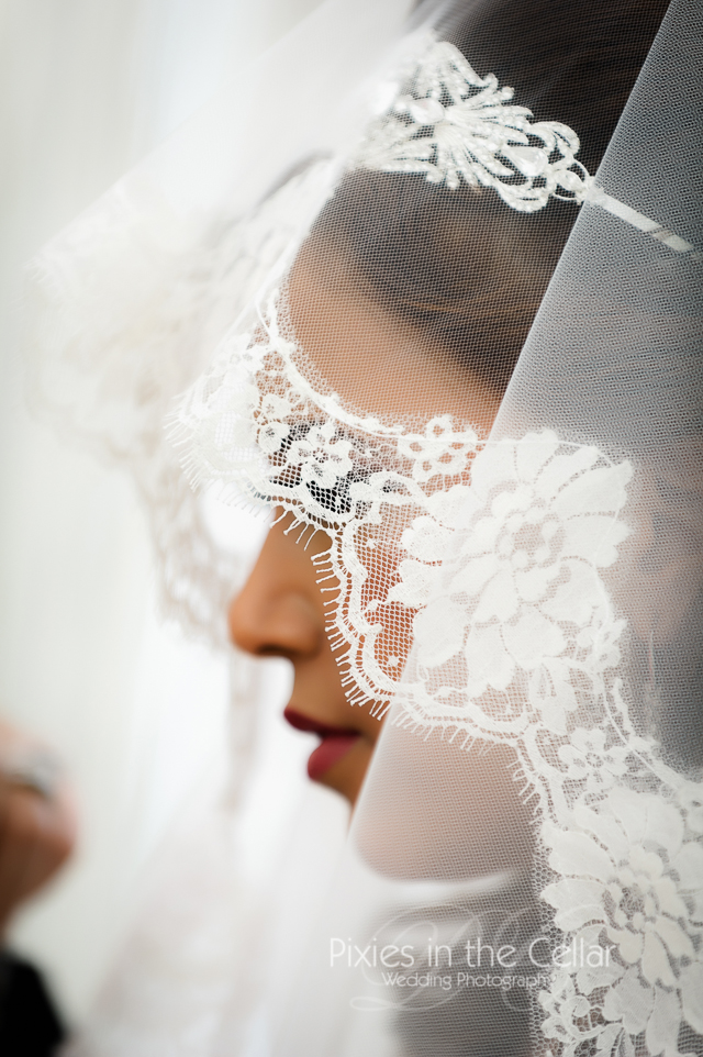 Manchester Egyptian Wedding lace veil detail
