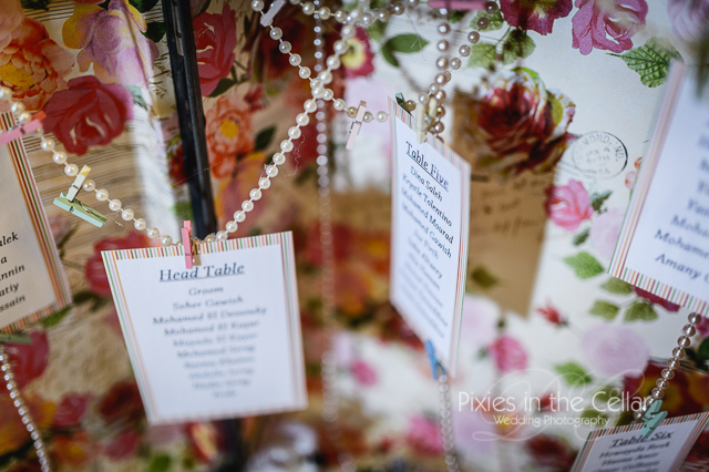 suitcase and pearls wedding table plan