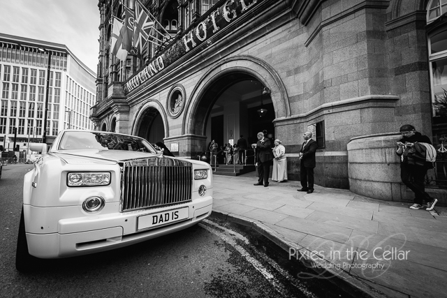 Midland Hotel Manchester Wedding bride and groom arrival