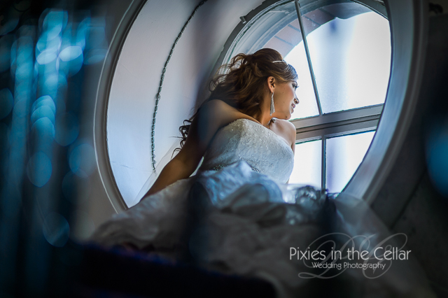 Midland Hotel Wedding Bride at window