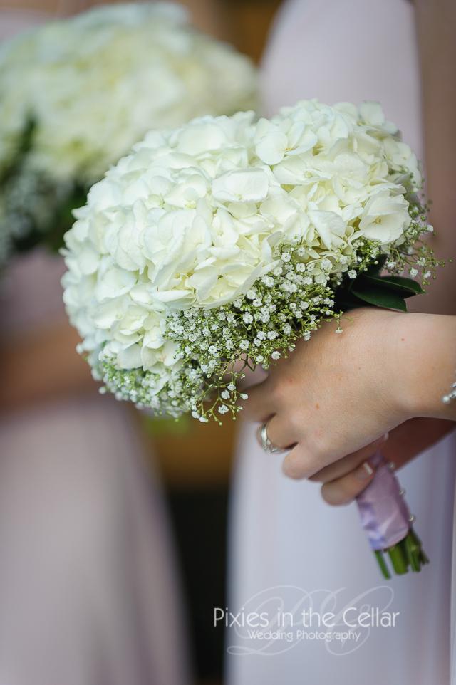 Black Cat floral white bridesmaid bouquet