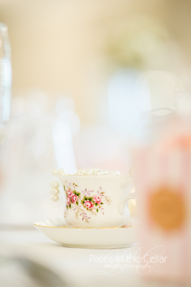 Vintage wedding tea cup pink theme pearls Manchester
