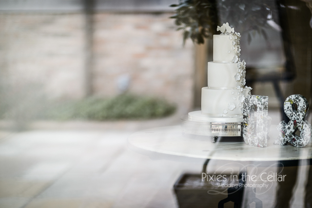 wedding cake through glass