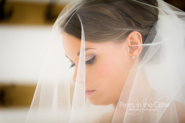 bride head shot under veil