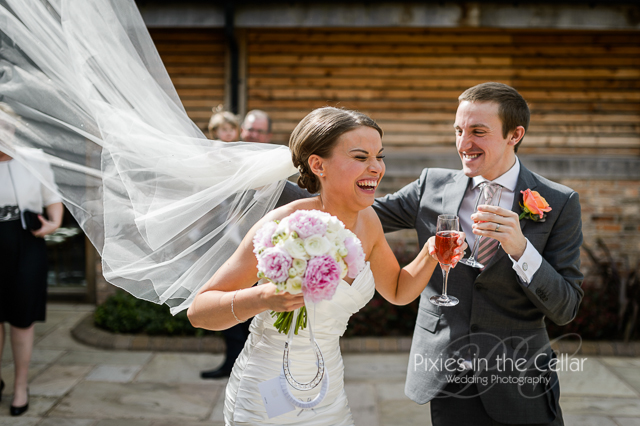 brides veil flying in wind
