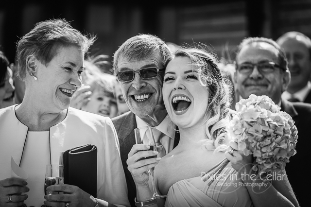 happy bridesmaid and dad