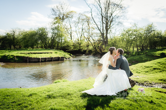 Spring wedding at Mythe Barn near river