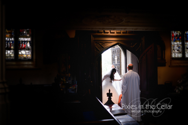 Bride arrival Manchester church wedding
