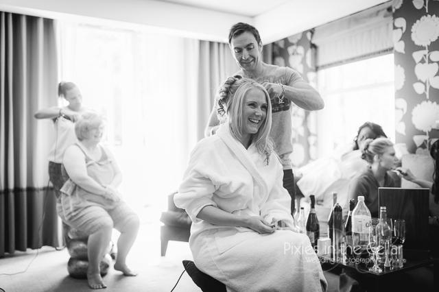 bride and hairdresser