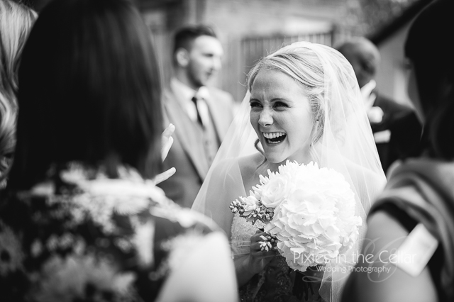 smiling bride black and white