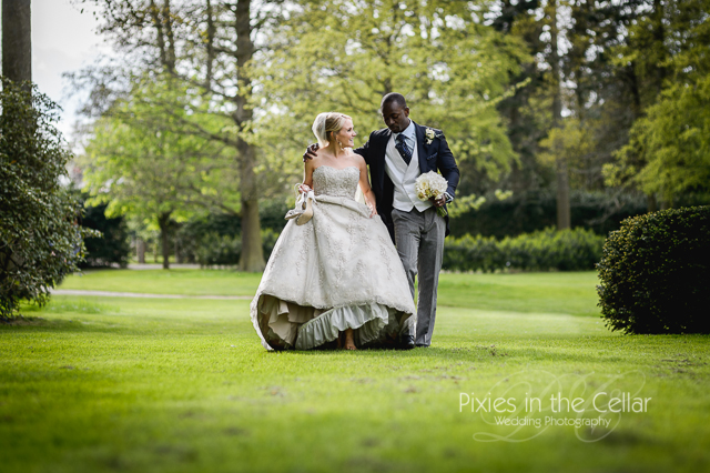 Rudding Park Hotel Wedding bride groom walking