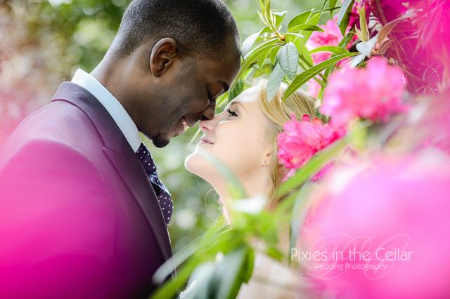 pink rhodedendrons wedding