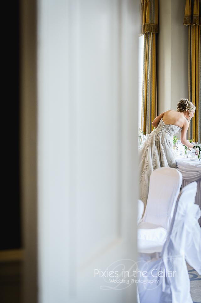 bride in wedding breakfast room