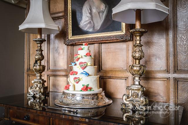 Arley Hall Wedding Photography tattoo themed cake