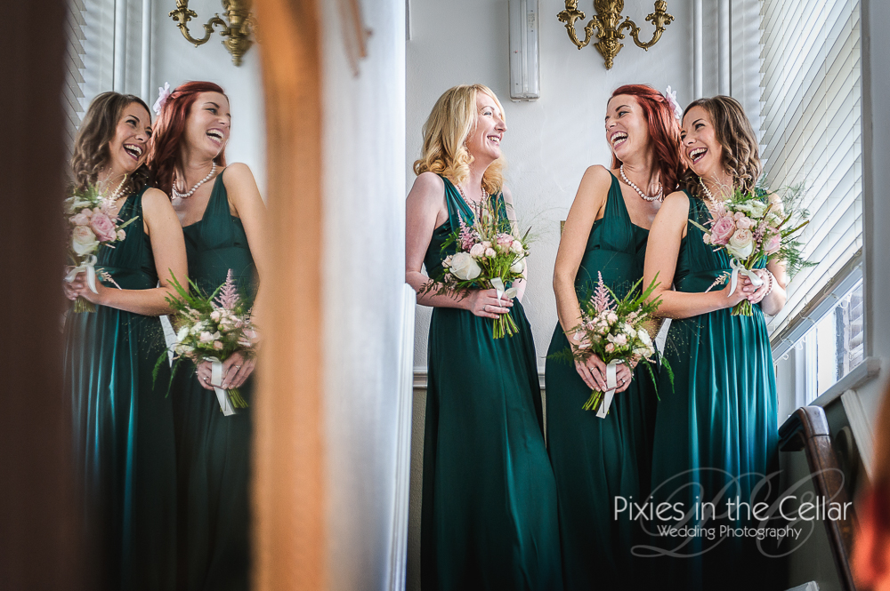 laughing bridesmaids in cheshire