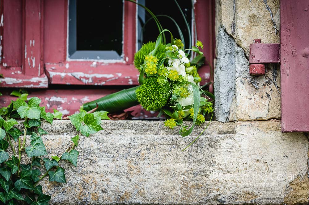 Rustic French fresh greens wedding bouquet