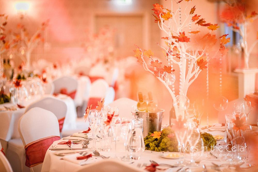 Autumn theme wedding breakfast Mottram Hall