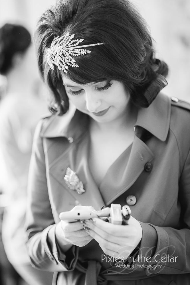 Sixties styled bride Cheshire wedding photographer