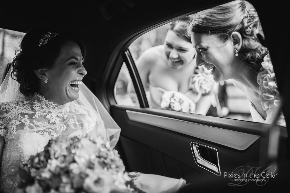 bride arrival smiles lancashire wedding