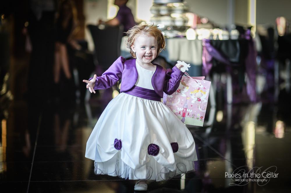 Flower girl purple Saddleworth hotel wedding