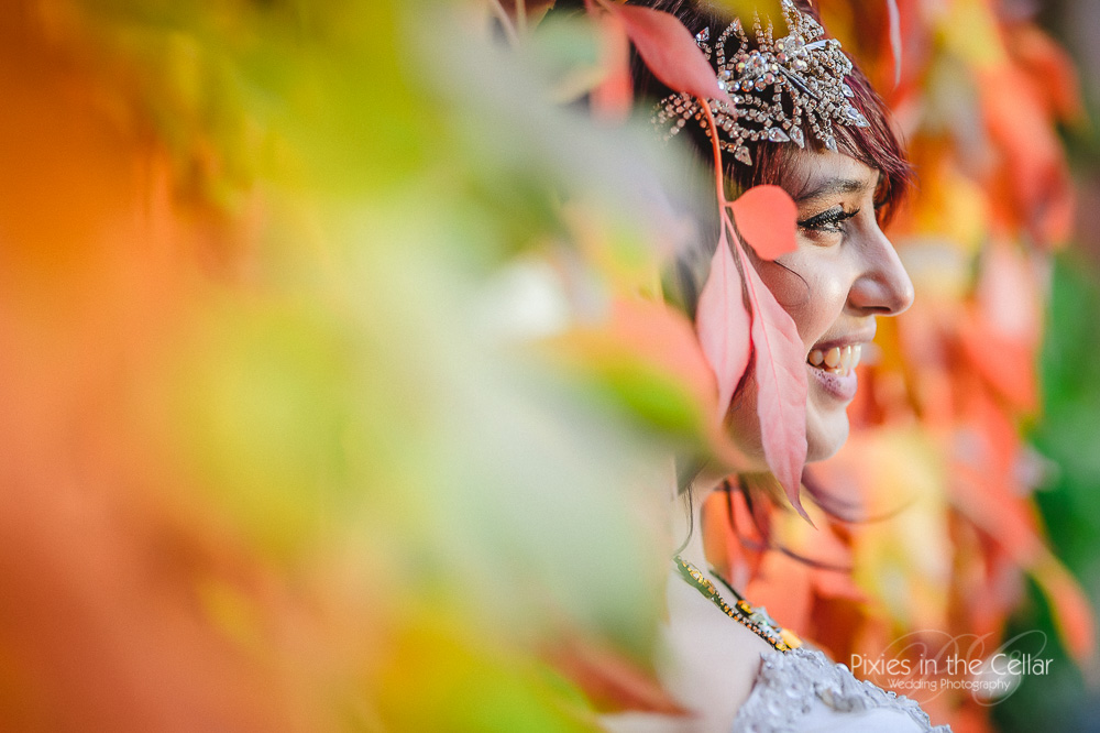 Autumnal wedding bride and ivy